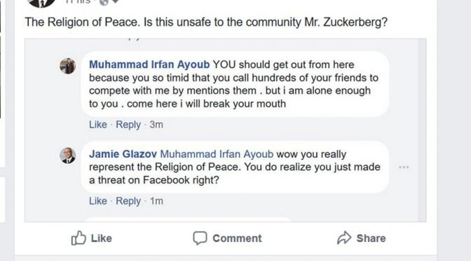 Facebook Bans Jamie Glazov For Reporting a Muslim's Threat